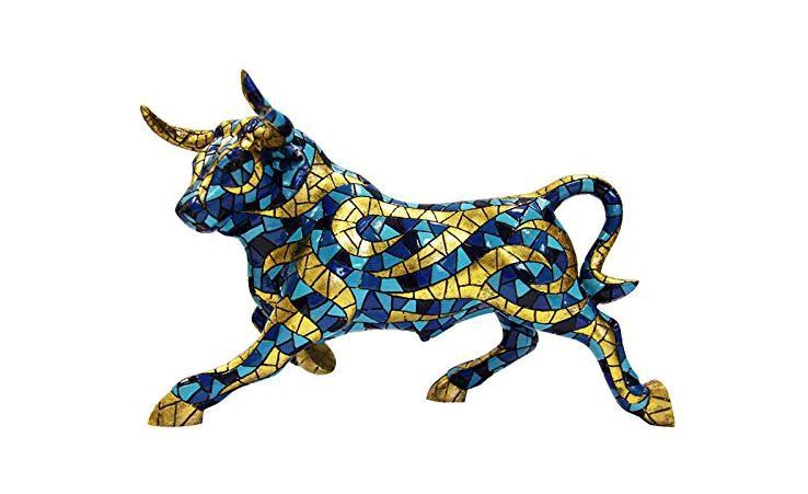 Blue and Gold Bull. Barcino Carnival Collection. 32cm