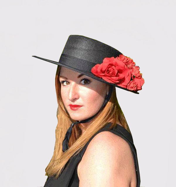 Rocio Cordobes Hat. Black Red Flowers