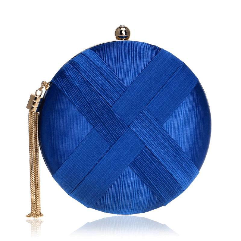 Round Dark Blue Clutch for Wedding Guest