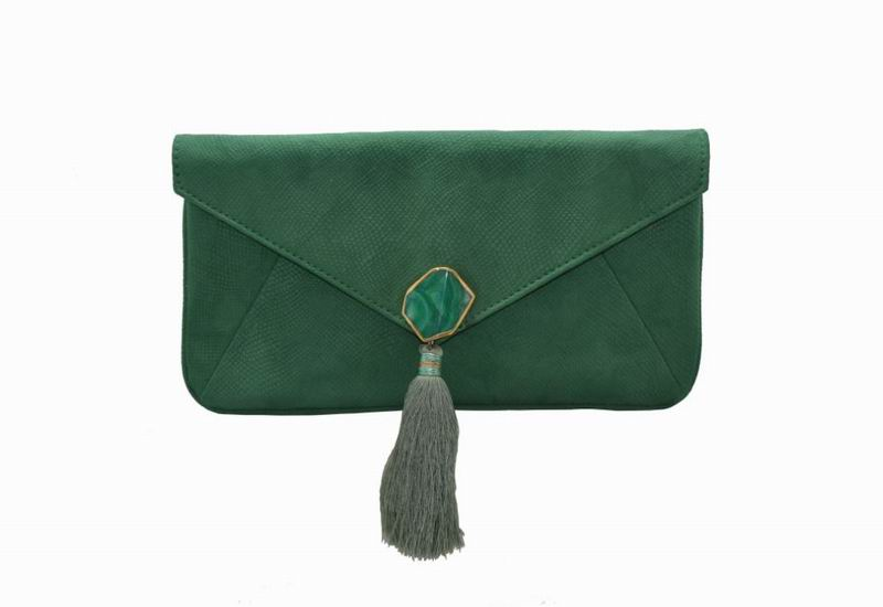 Green Suede Clutch with Stone Clasp and Fringes