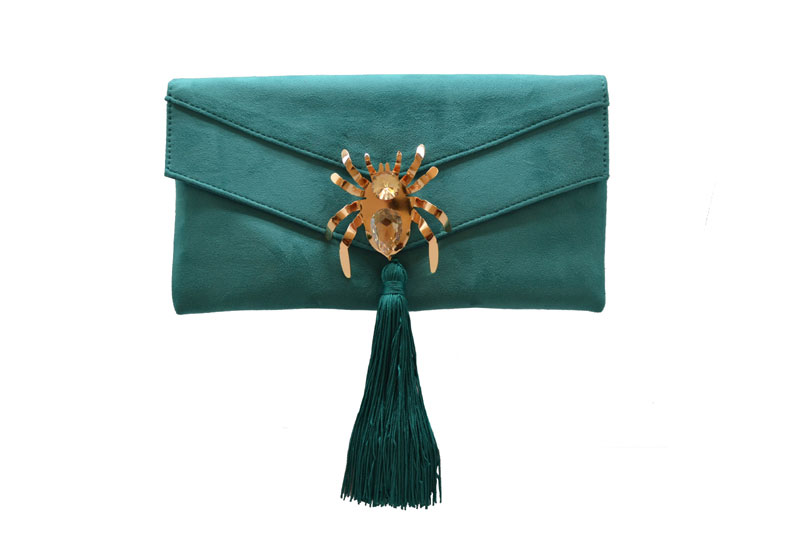 Green Clutch with Double Flap for Wedding Guest