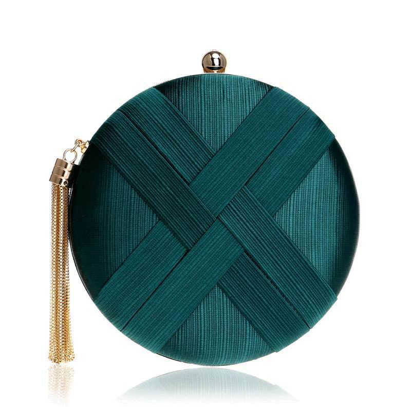 Round Clutch in Green Emerald for Guest Look