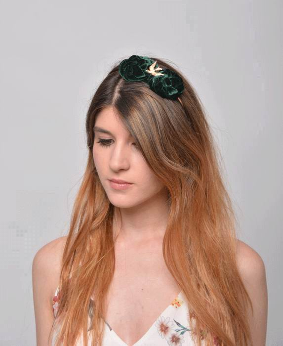 Diadem Cris. Golden Dove and Nests in Green Velvet