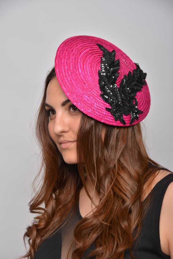 Straw Disc in Fuchsia decorated with Black Sequins. Mia