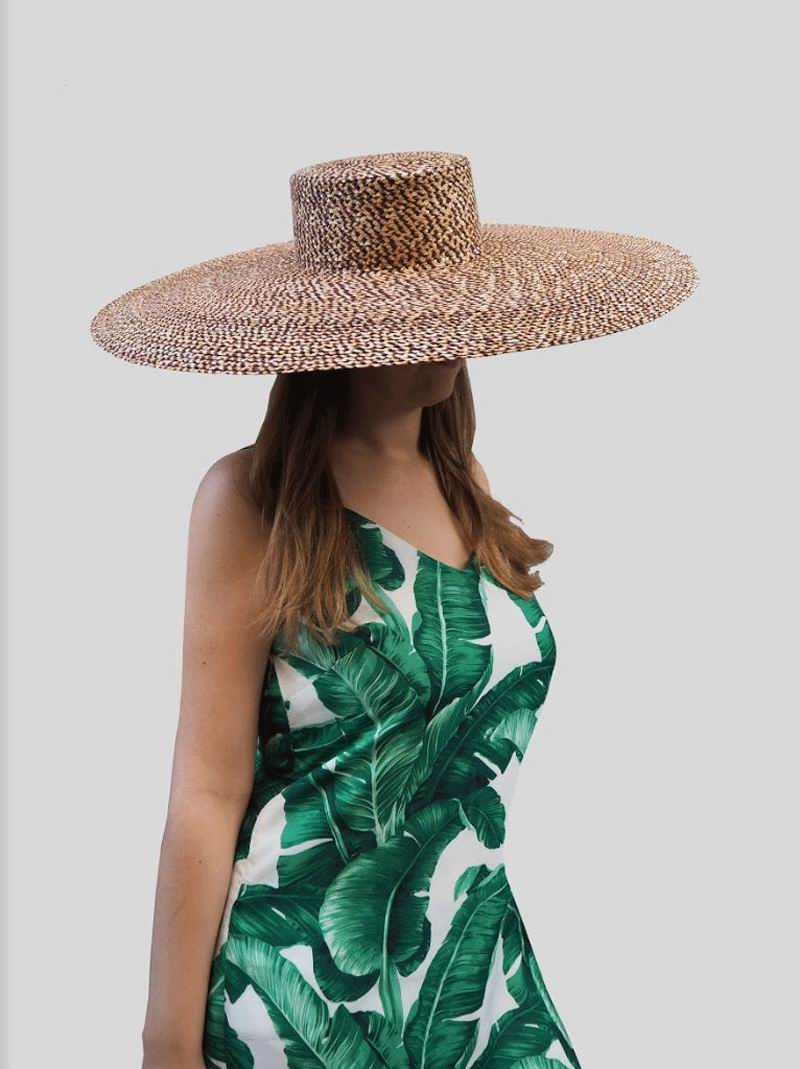 Straw Floppy Hat Brenda. Floppy Hat XXL with marbled straw