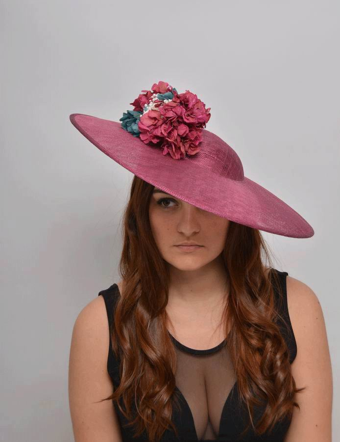 Floppy Hat Lucia. Sinamay Hat with Preserved Flowers