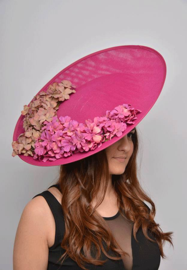 Sinamay Floppy Hat Hortensia XXL in Fuchsia with Flowers of same Tones