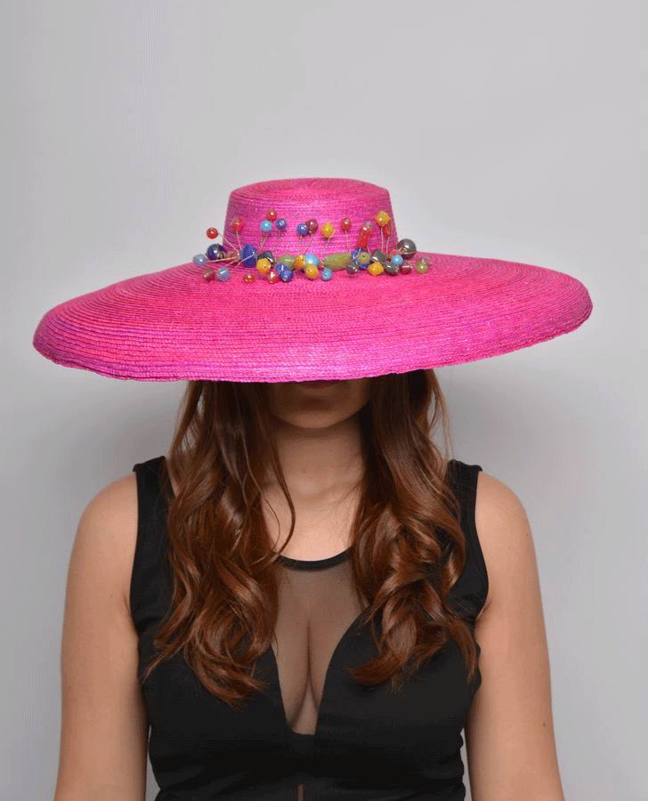 Straw Floppy Hat in Fuchia Decorated with Colored Stones