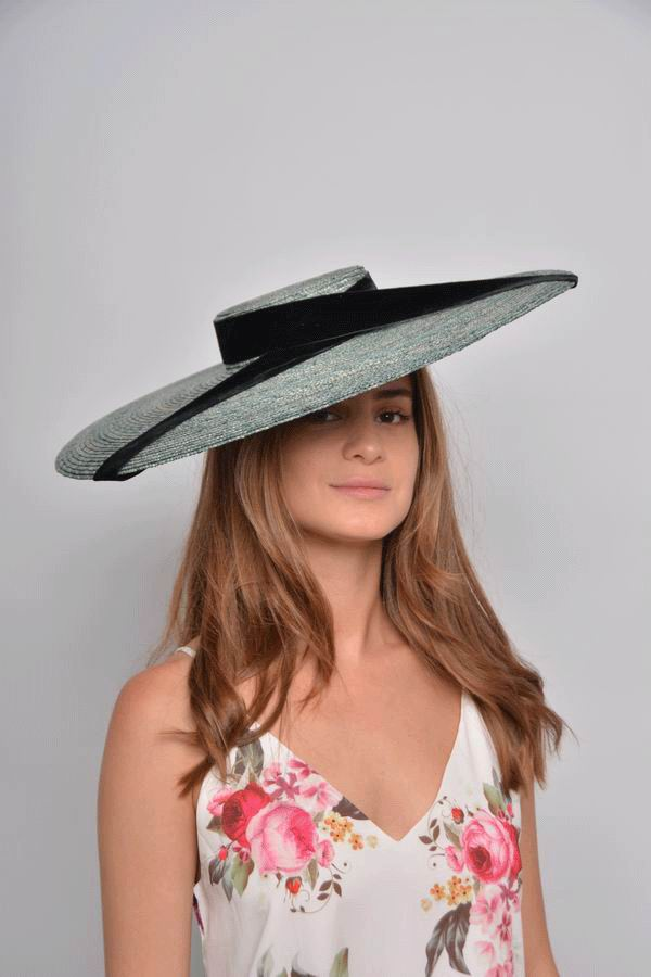 Straw Floppy Hat in Green with a Black Velvet Ribbon