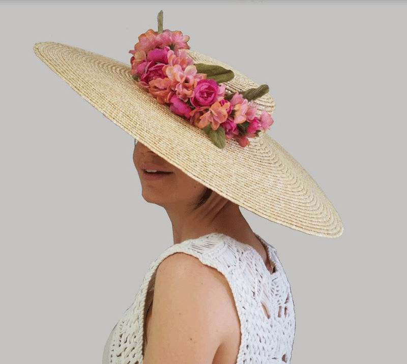 Straw Floppy Hat with a Bouquet of Flowers in Pink Tones