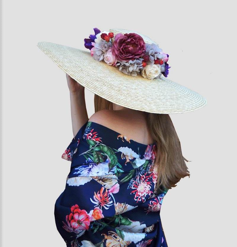 Floppy Hat in Natural Straw Decorated with Flowers. Samantha Model