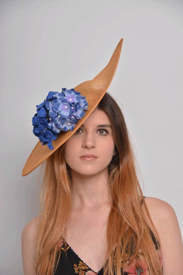 Floppy Hat Paula. Golden Sinamay Hat with Blue Hydrangeas