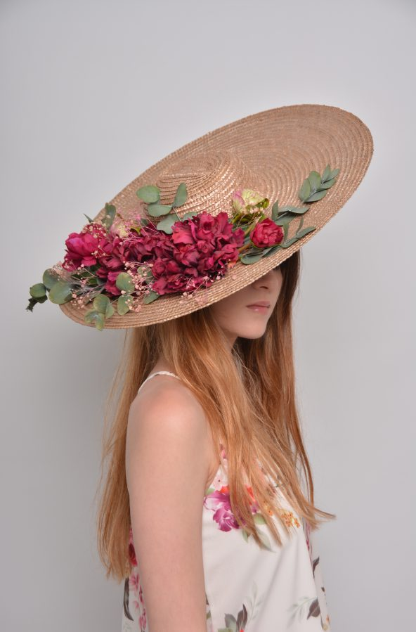 Straw Floppy Hat Olivia with Preserved Flowers
