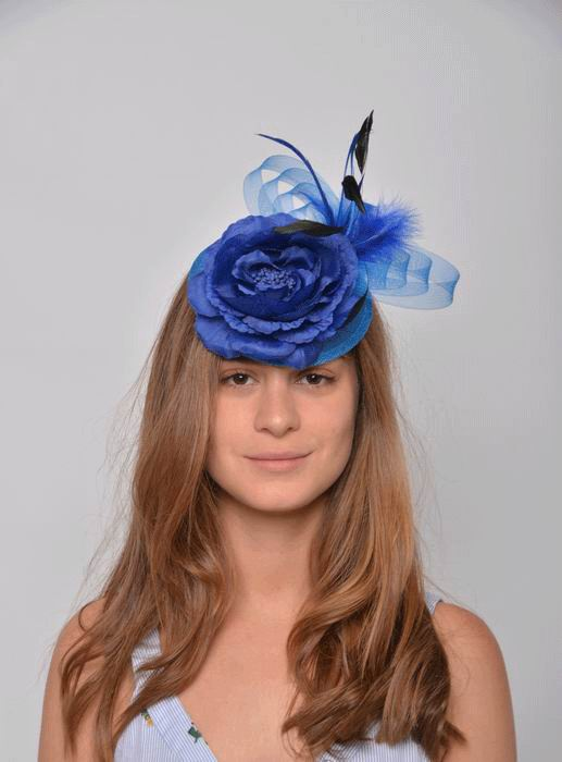 Headdress Erika. Flower and Circles in Blue Tulle and Green Feathers