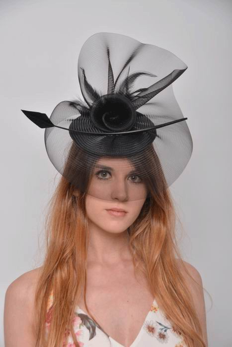 Amanda Headdress. Headdress with Veil and Black Arrow