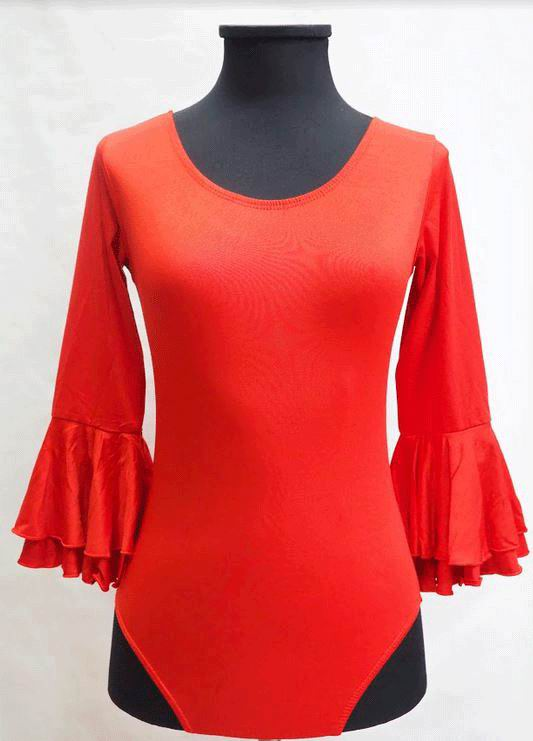 Economical Long-Sleeved Red Leotard with Ruffle for Adults