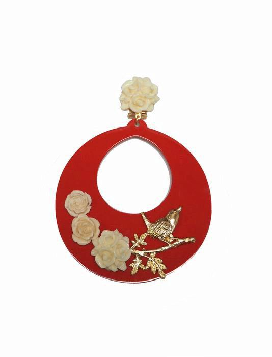Red Acetate Flamenca Earrings Decorated with Flowers and a Golden Bird on a Branch