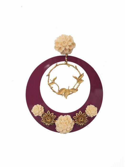 a822e64d16ae Pendientes de Flamenca Doble Aro en Metal y Acetato color Buganvilla  Decorado con Flores de Resina
