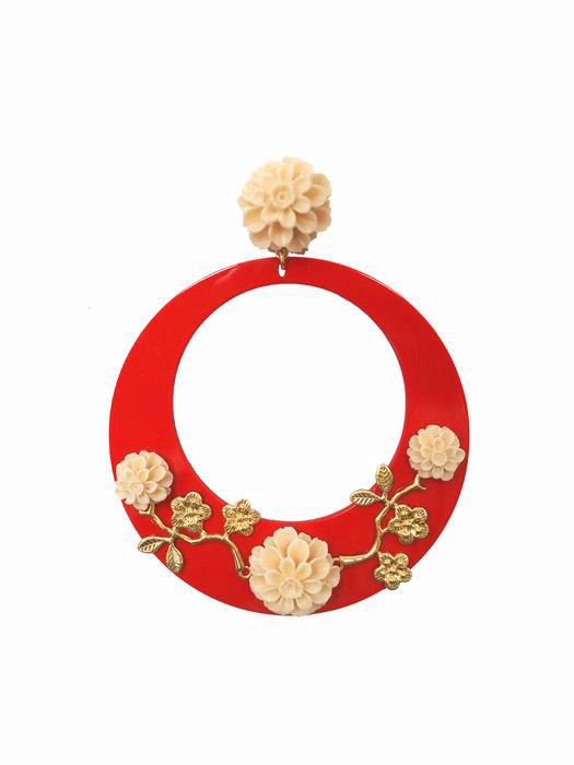 Flamenca Earrings in Red Acetate Decorated with Ivory Flowers and Metallic Branches in Gold