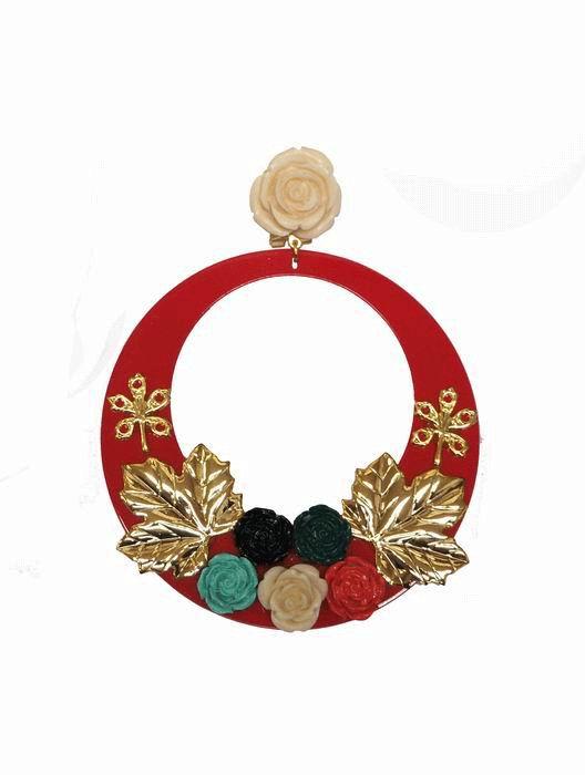 49dcca747b34 Pendientes de Flamenca de Acetato Rojo Decorado con Hojas Metal y Flores de  Resina
