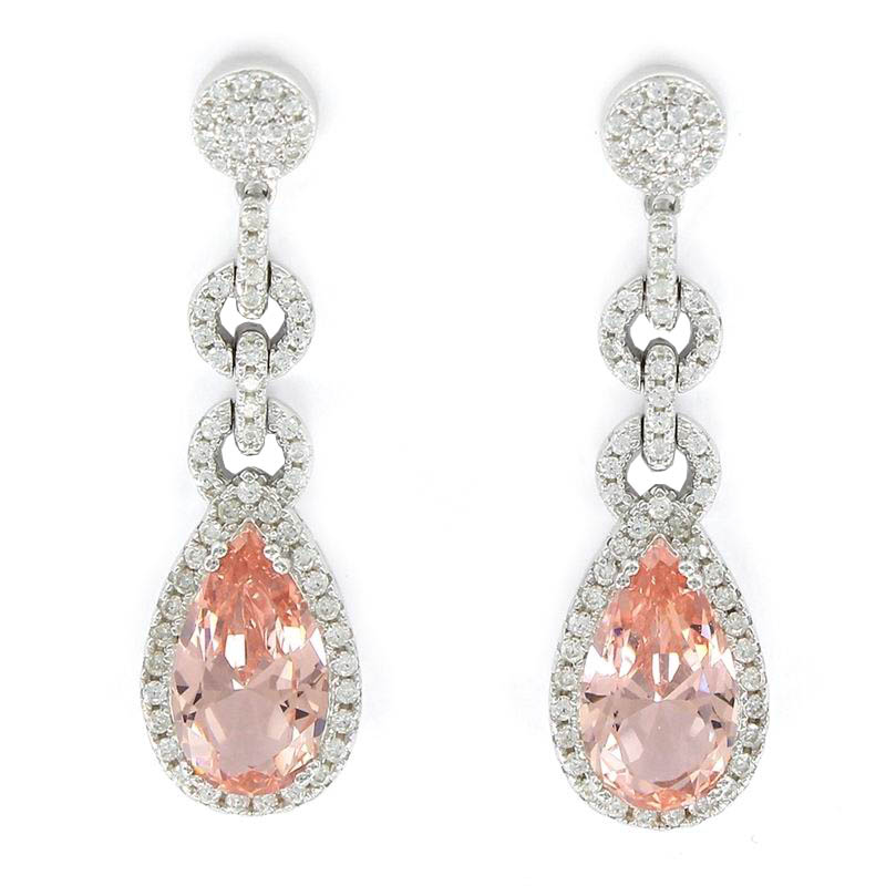 Zirconia Earrings with a Pink Faceted Drop