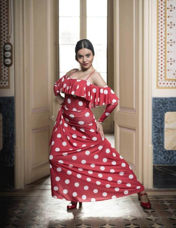 Flamenco Dance Skirt Ageri Red with White Polka Dots. Davedans