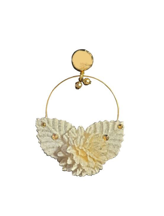 Golden Hoop Flamenca Earrings with Ivory Fabric Flowers and Golden Reflections