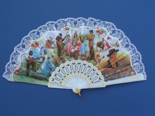 Fan With Flamenco and Bullfights Scenes ref. 2711
