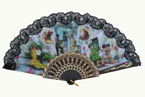 Fan With Flamenco and Bullfights Scenes ref. 2777
