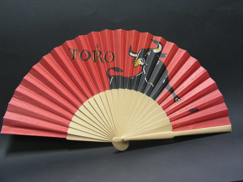 Red Fan with Fierce Bull