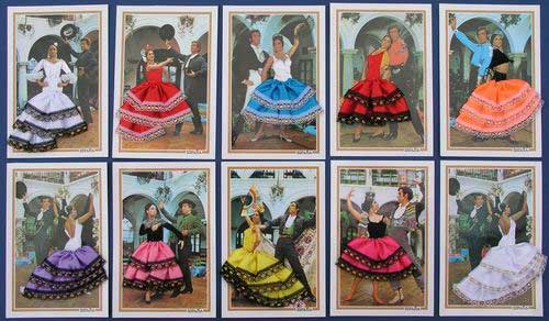 3D Post cards Couple Flamenca with Dress. Pack 10 Units
