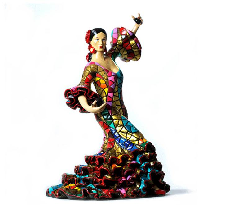Carnival Bailaora Playing the Castanets with a Multicolor Flamenco Outfit. 9cm