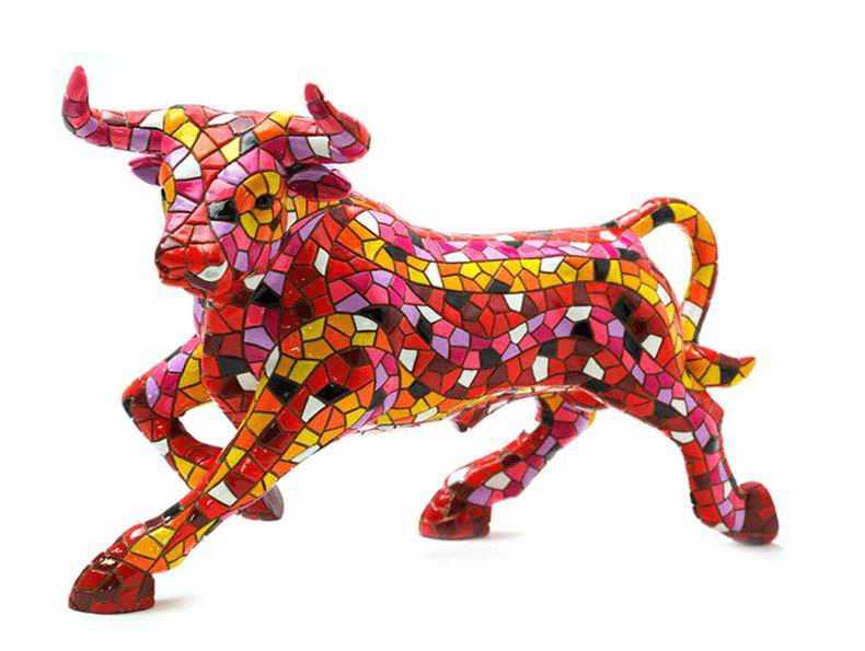 Red Mosaic Bull by Barcino. 24cm