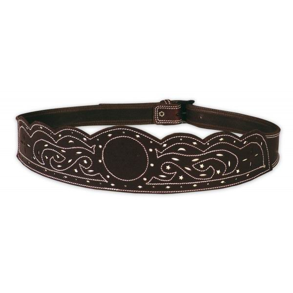 Openwork and White Backstitched Leather Campero or Rociero Belt . Ref. 6002/80