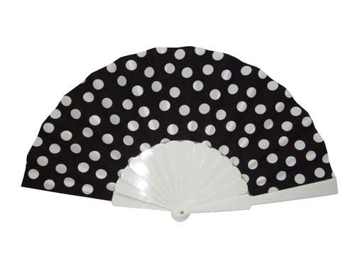 Polka Dots Fan With Black Background And White Dots