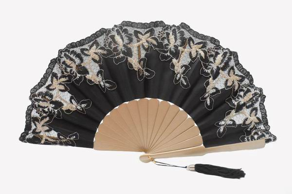Black Satin Party Fan with Golden Ribs and Black and Gold Lace Edging Ref. 1387