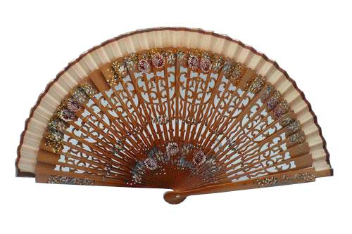Wooden fan with openwork and painted ribs