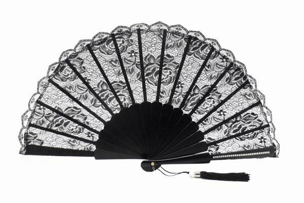 Ceremony Fan for Maid of honour with Black Lace. Ref. 1364