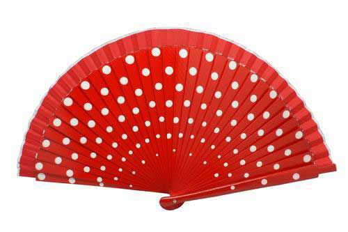 Red Fan in Wood Painted With White Polka Dots on Both Sides