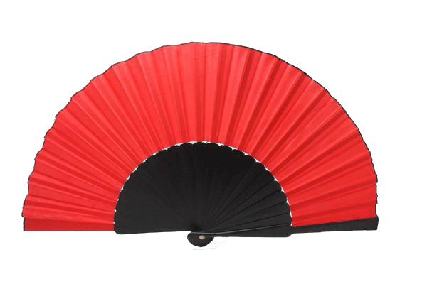 Flamenco Pericon Fan of Red Fabric and Black Wood