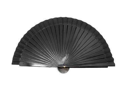 Wooden fan with plain black fabric