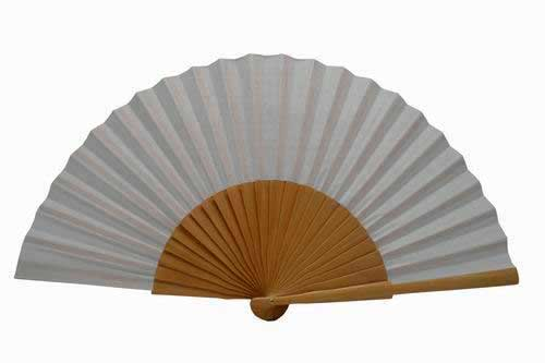 Plain White Varnished Wooden Fan