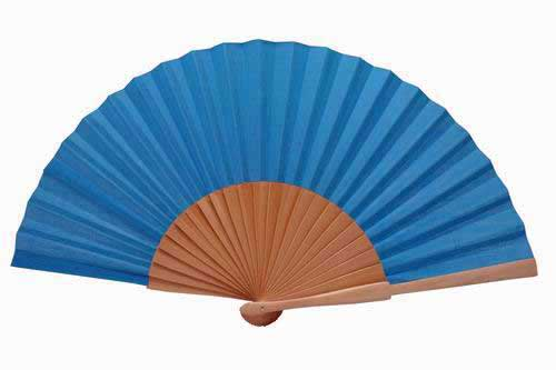 Varnished Wooden Plain Fan in Turquoise