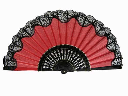 Flamenco Dance Fan With Lace. 60 cm X 33 cm