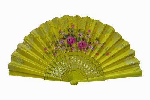 Hand painted fan with yellow lace. ref. 150ENCJ