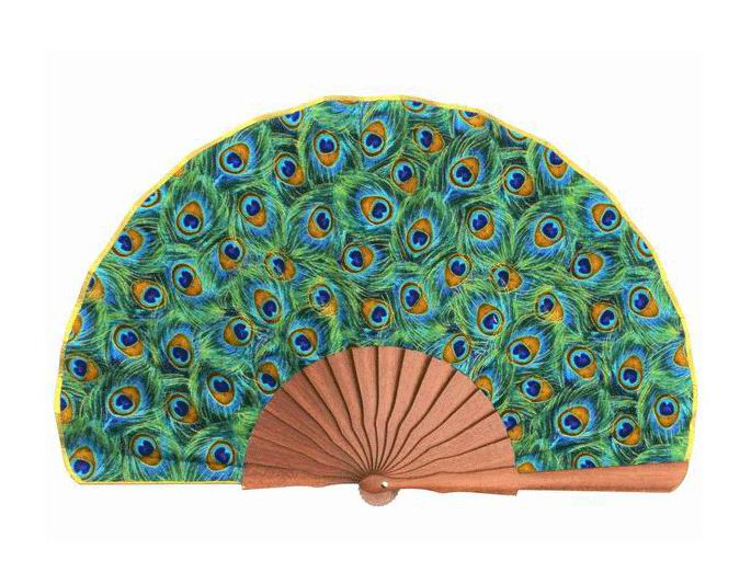 Peacock printed fan. 24.5cm