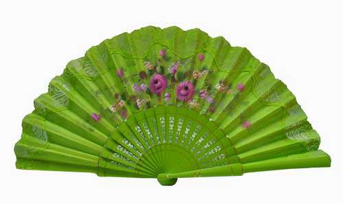 Hand painted fan with pistachio green lace. ref. 150ENCJ