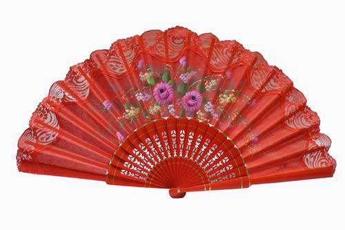 Hand painted fan with red lace. ref. 150ENCJ
