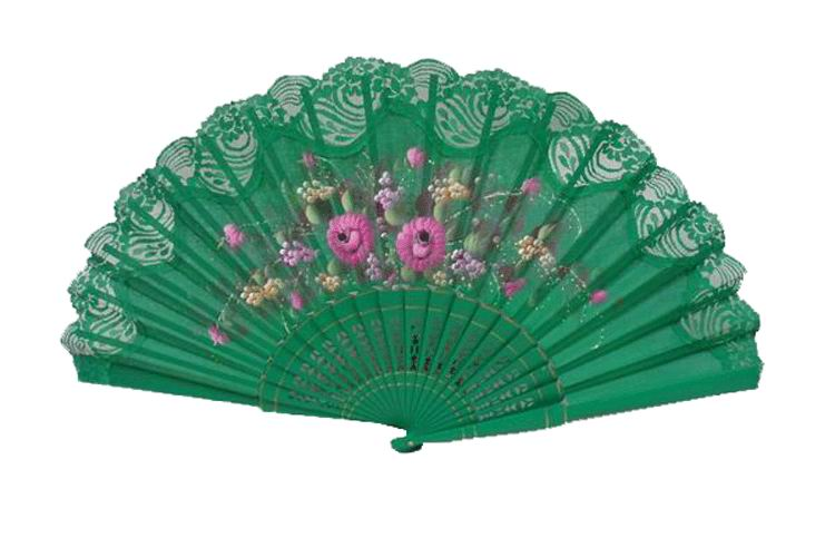 Hand painted fan with green lace. ref. 150ENCJ