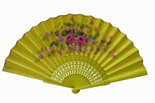 Hand-painted yellow fan with golden rim. ref. 150